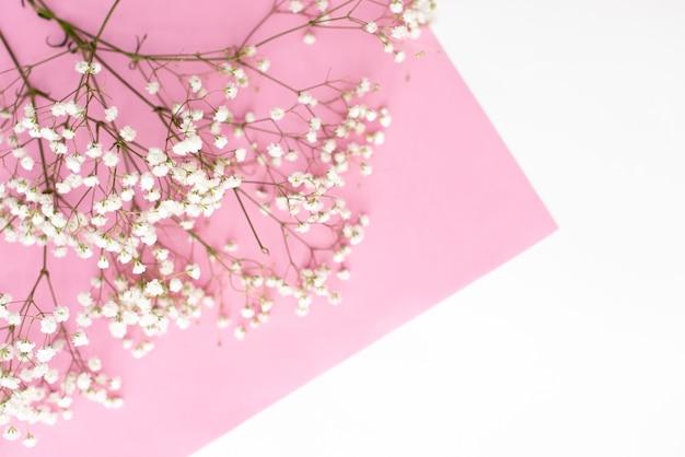Kader dat van kleine witte bloemen op pastelkleur roze achtergrond wordt gemaakt. Premium Foto