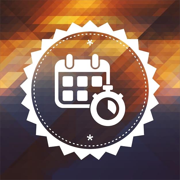 Kalender met stopwatch. retro labelontwerp. hipster achtergrond gemaakt van driehoeken, stroom kleureffect. Premium Foto