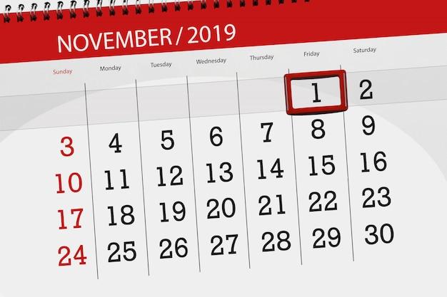 Kalenderplanner voor de maand november 2019, deadline dag, 1, vrijdag Premium Foto