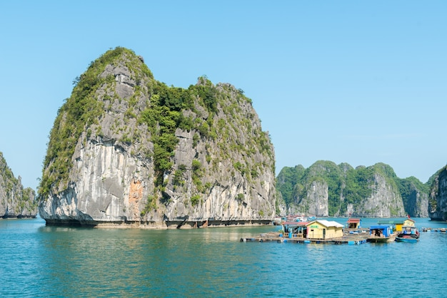Kalksteen halong bay landschap Premium Foto