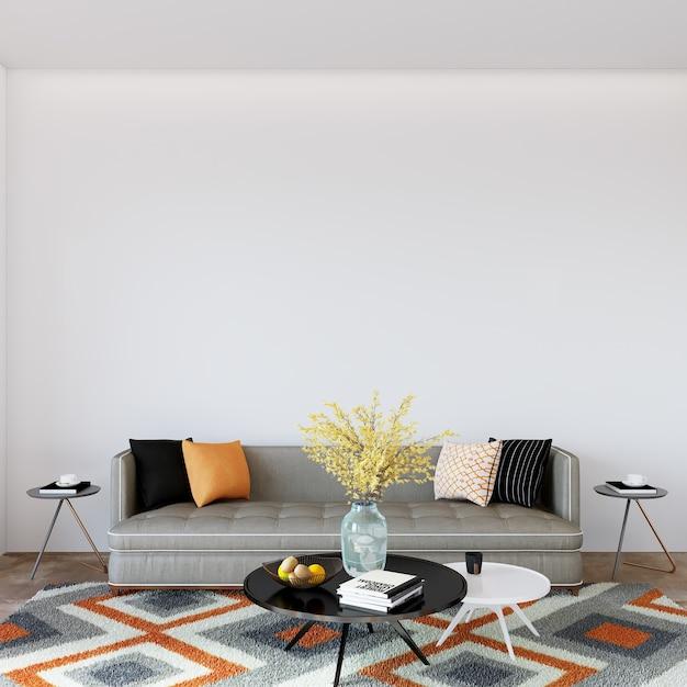 Kamer interieur met sofa en kussens Premium Foto