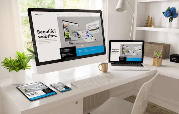 Kantoor aan huis bureaublad met de maker van het webdesign 3d-rendering Premium Foto