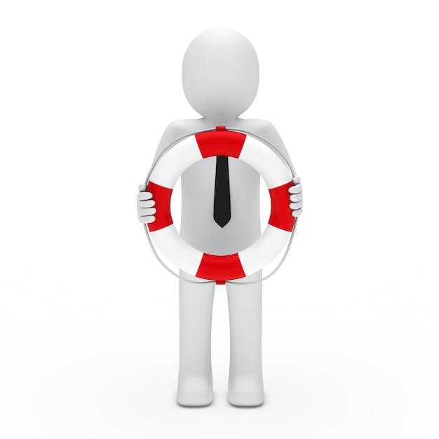 Karakter met stropdas die een float Gratis Foto