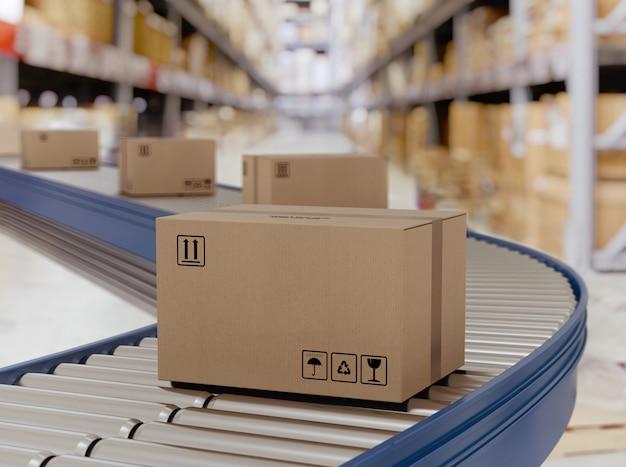 Kartonnen dozen op transportrollen klaar om per koerier te worden verzonden voor distributie. Premium Foto