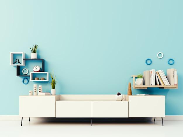 Kast op de blauwe muur Premium Foto