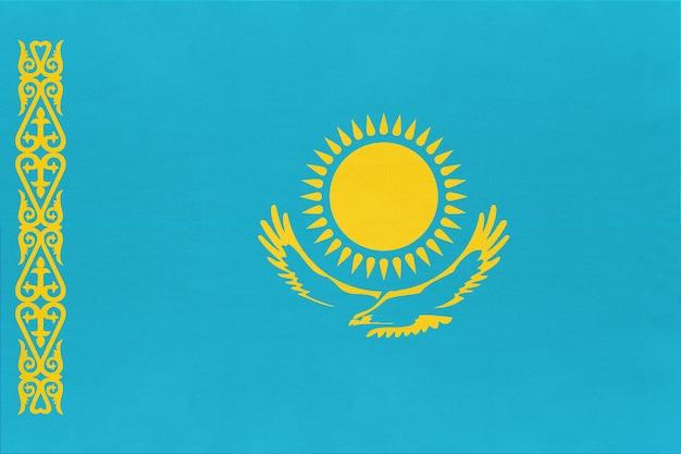 Kazachstan nationale stof vlag textiel achtergrond, symbool van wereld aziatische land, Premium Foto