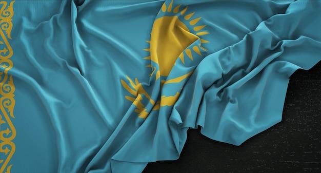 Kazachstan vlag gerimpelde op donkere achtergrond 3d render Gratis Foto
