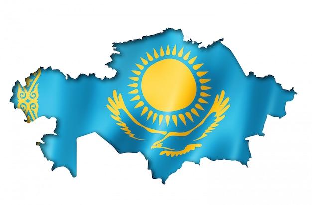 Kazachstan vlag kaart Premium Foto