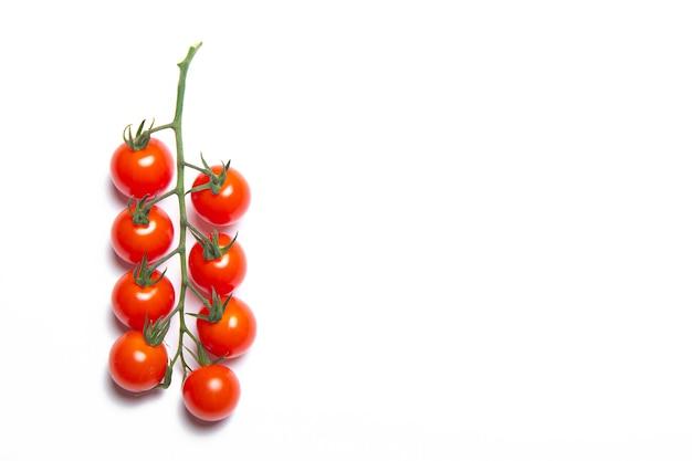 Kersentomaten tak geïsoleerd op een witte achtergrond. rode tomaat. tomaten op een tak. geïsoleerde achtergrond. Premium Foto