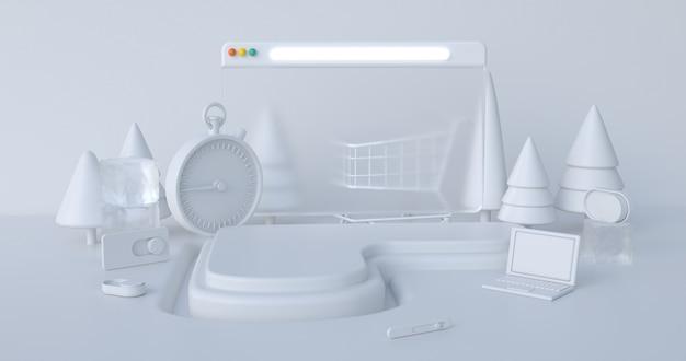 Kerst 3d-rendering scène podium vertoning met xmas objecten abstracte achtergrond. Premium Foto