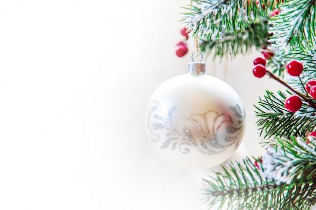 Kerst achtergrond. gelukkig nieuwjaar. selectieve aandacht Premium Foto