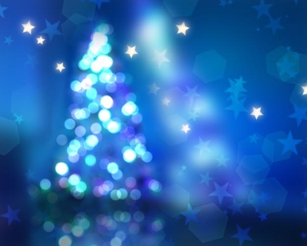 Kerst achtergrond met defocussed boom en bokeh lichten Gratis Foto