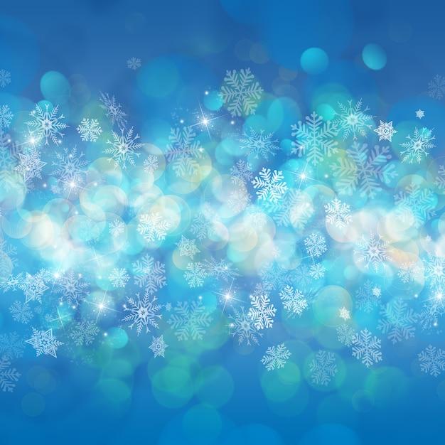 Kerst achtergrond van sneeuwvlokken en sterren Gratis Foto