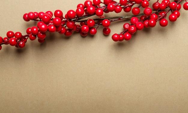 Kerst ambachtelijke bruine banner met plaats voor tekst of kopie ruimte met tak van rode bessen of viburnum bovenaan. Premium Foto