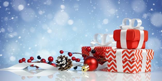 Kerst banner met drie rode geschenkdozen en decoraties op blauwe achtergrond Premium Foto