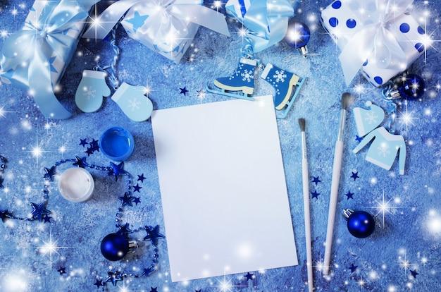 Kerst mock up voor wenskaart of brief aan de kerstman in blauwe kleur. Premium Foto