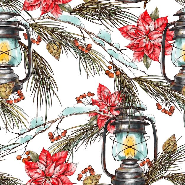 Kerst naadloze bloemmotief met fir takken, met rustieke lantaarn en poinsettia bloemen. Premium Foto