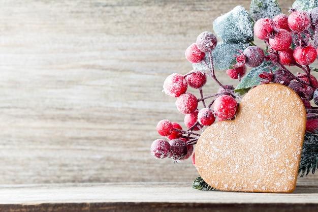 Kerst ornamenten met koekjes hart Premium Foto