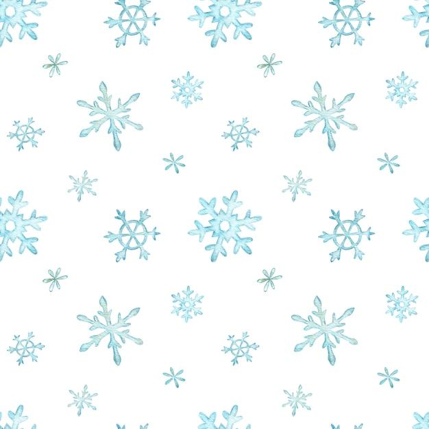 Kerst patroon van lichtblauwe vallende sneeuwvlokken. winter achtergrond. aquarel kerst illustratie. Premium Foto