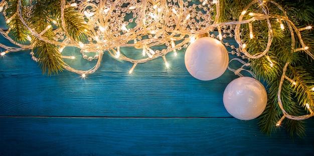Kerst slinger licht fame achtergrond Premium Foto