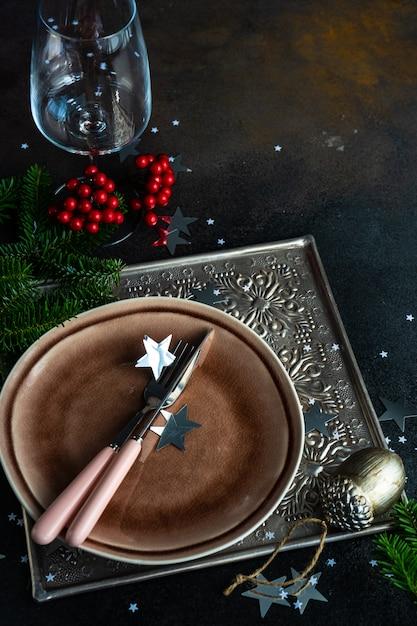 Kerst tabel instelling Premium Foto