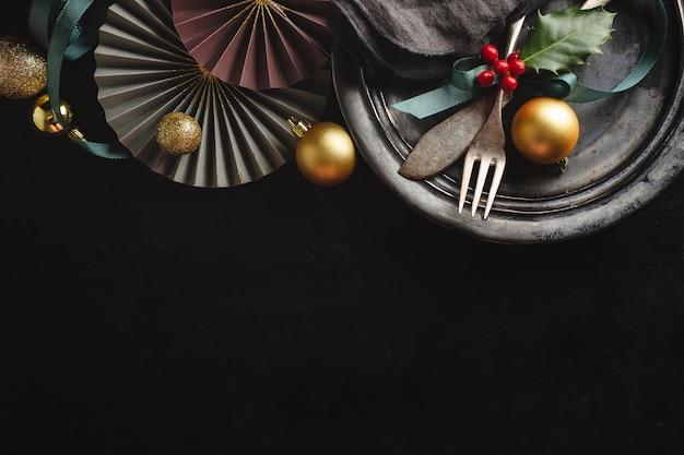 Kerst vintage rustiek bestek Premium Foto