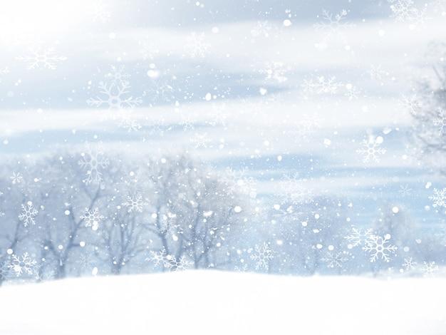 Kerst winterlandschap met vallende sneeuwvlokken ontwerp Gratis Foto