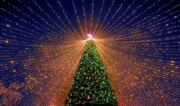 Kerstboom. de belangrijkste kerstboom van oekraïne op het sofia-plein. bekijk van onderen. Premium Foto