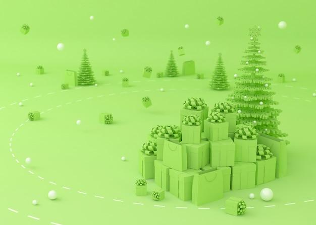 Kerstboom, geschenkdoos en boodschappentassen Premium Foto