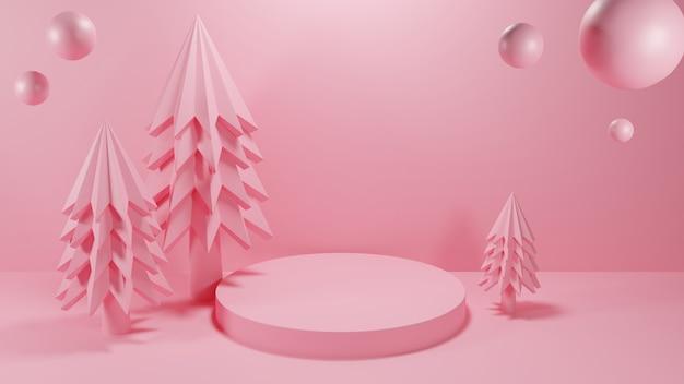 Kerstboom met cirkelpodium in roze kleur Premium Foto