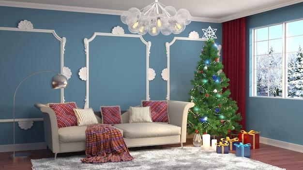 Kerstboom met decoraties in de woonkamer gemaakt illustratie Premium Foto