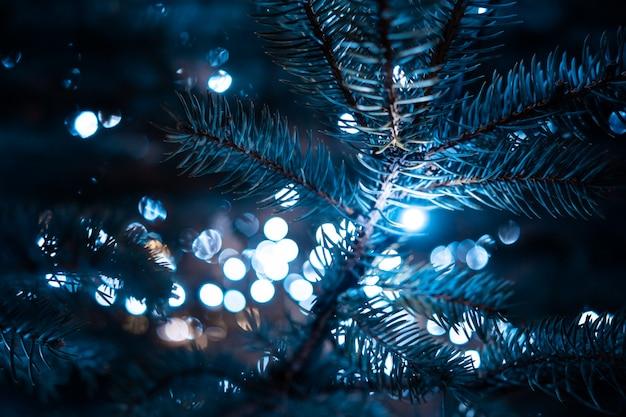 Kerstboom met kegels op een stadsstraat die met een slinger wordt verlicht. Gratis Foto