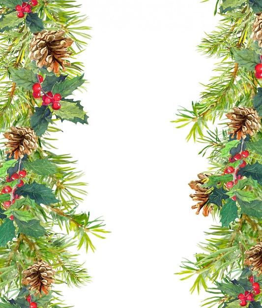 Kerstboom takken naadloos frame Premium Foto