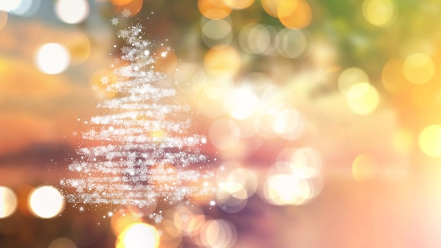 Kerstboom van sterren op bokehlichten Gratis Foto