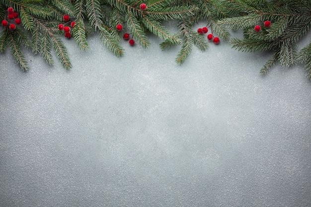 Kerstboomtak met exemplaarruimte Premium Foto