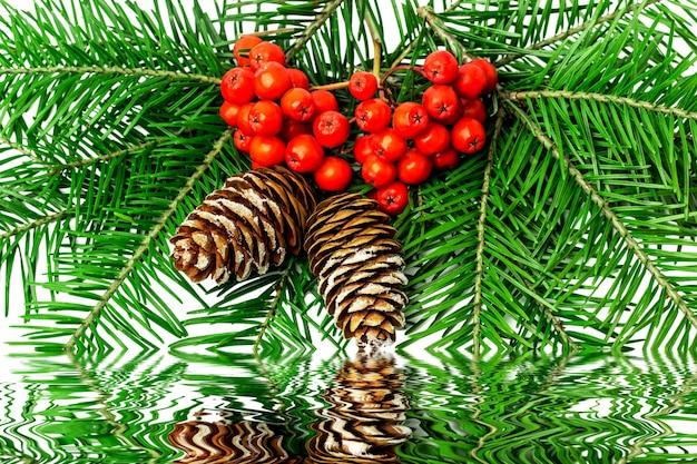 Kerstdecoratie met lijsterbes op een wit. Premium Foto