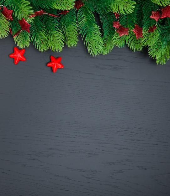 Kerstdecoratie op donkere ondergrond Premium Foto
