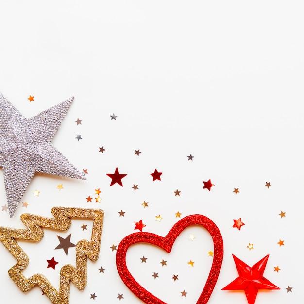 Kerstmis en nieuwjaar met decoraties Premium Foto