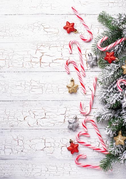 Kerstmis met snoepgoed Premium Foto