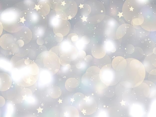 Kerstmisachtergrond met bokehlichten en sterrenontwerp Gratis Foto