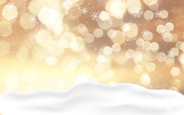 Kerstmisachtergrond met gouden bokehlichten en sneeuw Gratis Foto