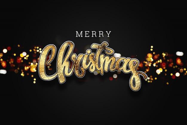 Kerstmisachtergrond met gouden lichten bokeh. xmas wenskaart. poster, banner. Premium Foto