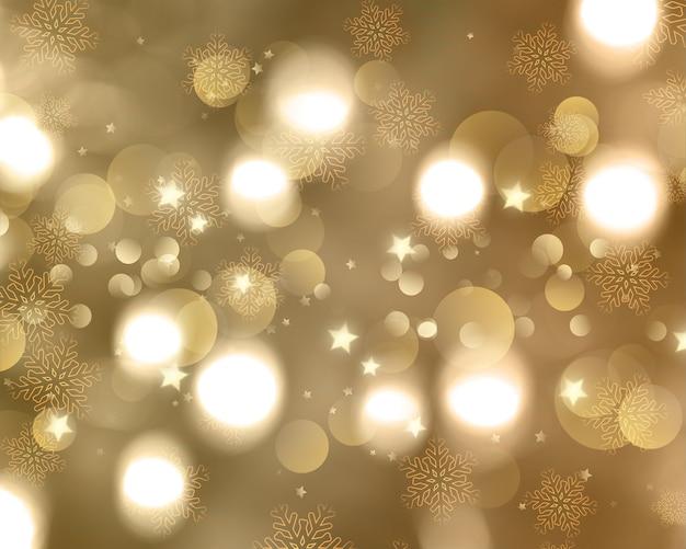 Kerstmisachtergrond van sneeuwvlokken en sterren Gratis Foto