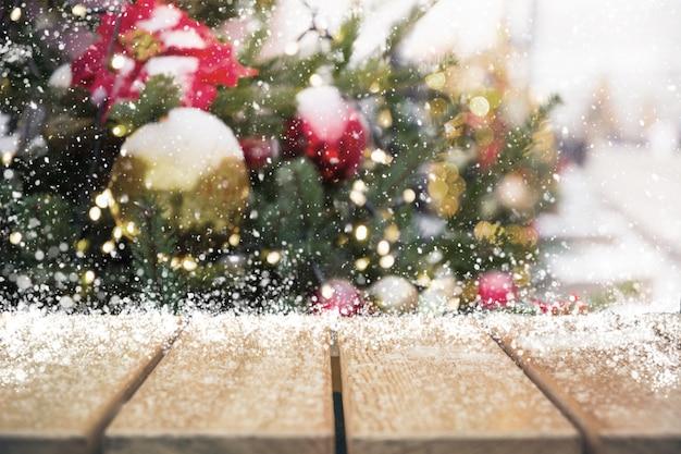Kerstvakantie met lege tafelblad Premium Foto