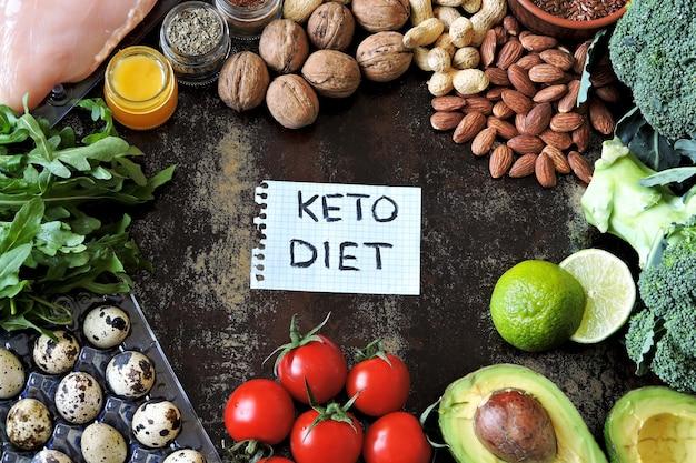 Ketogeen dieet concept. een set producten van het low carb keto-dieet. groene groenten, noten, kipfilet, lijnzaad, kwarteleitjes, kerstomaatjes. gezond eten concept. Premium Foto