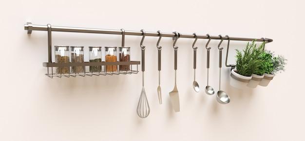 Keukengerei, droge bulk en levende kruiden in potten hangen aan de muur Premium Foto