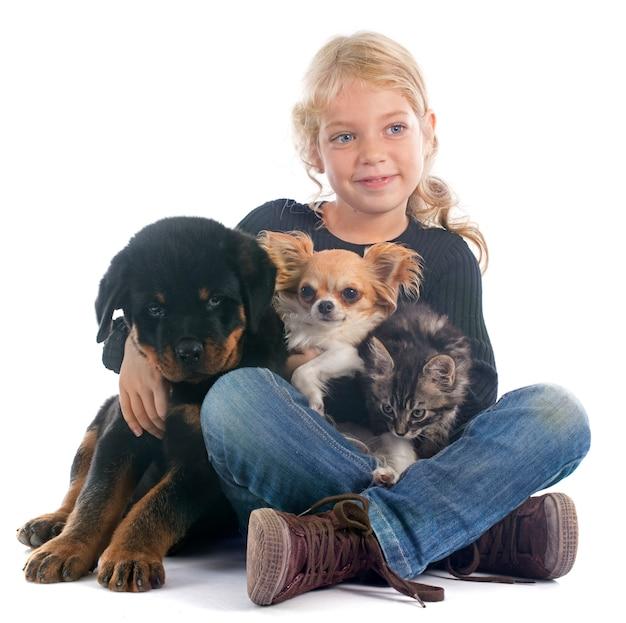 Kind en honden Premium Foto