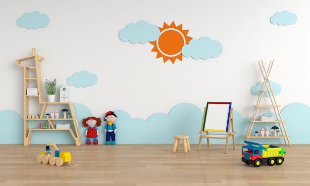 Kinderkamer interieur voor mockup, 3d-rendering Premium Foto
