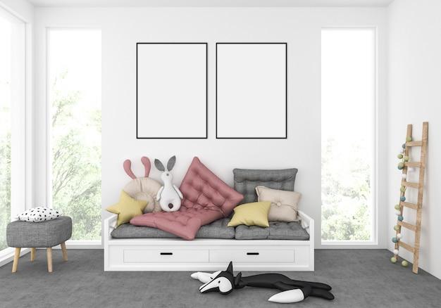 Kinderkamer, kinderkamer voor spellen, speelkamer, mockup met dubbele frames, illustraties Premium Foto