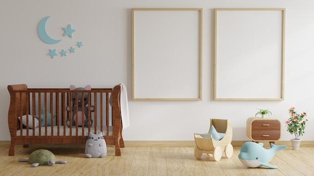 Kinderkamer met bed versierd met bomen en poppen met fotolijsten op witte muren. 3d-rendering. Premium Foto